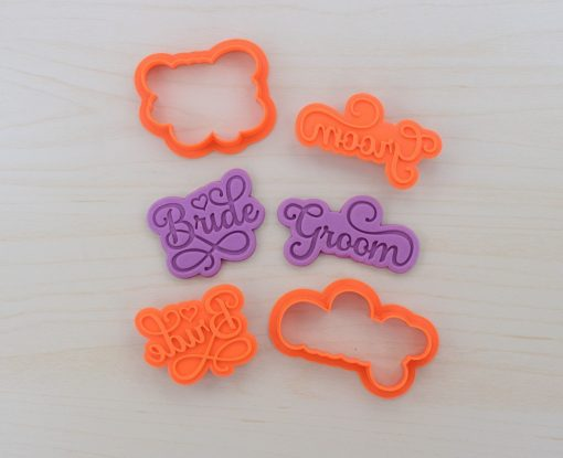 Bride & Groom Cookie Cutters and Stamps Set